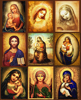 Sacred Painting - Poster Madonnas 1 by Ananda Vdovic