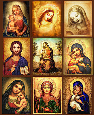 Byzantine Painting - Poster Madonnas 2 by Ananda Vdovic