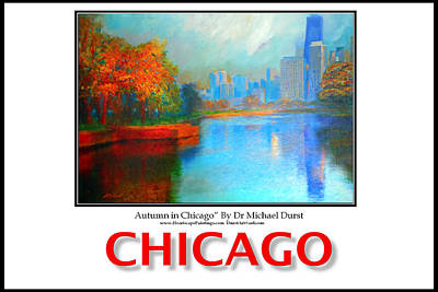 Poster Of Autumn In Chicago Print by Michael Durst