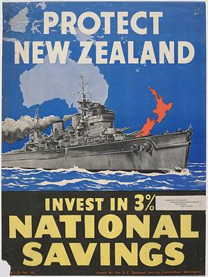 Saving Painting - Poster, Protect New Zealand, June 1942, Wellington, By N.z. National Savings Committee by Celestial Images