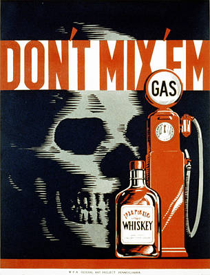 1930s Poster Art Photograph - Poster Showing Whiskey Bottle, Gas by Everett