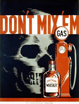 Poster Showing Whiskey Bottle, Gas Art Print by Everett