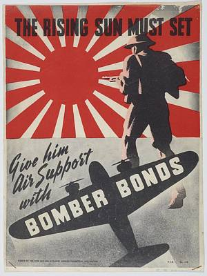 Saving Painting - Poster The Rising Sun Must Set 1942 Wellington By New Zealand National Savings Committee. by Celestial Images