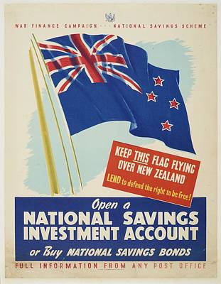 Saving Painting - Poster War Finance Campaign October 1940 Wellington By E.v Paul Government Printer N.z Natio by Celestial Images