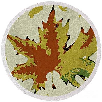 Painting - Posterised Autumn Leaf - Round Beach Towel by Leanne Seymour
