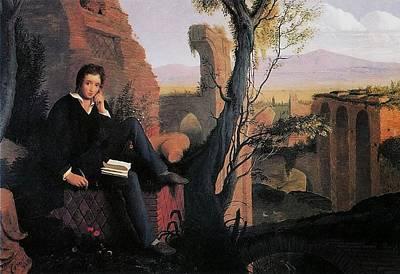 Prometheus Painting - Posthumous Portrait Of Shelley Writing Prometheus by MotionAge Designs