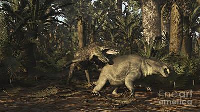 Triassic Digital Art - Postosuchus Attacking A Dicynodont by Arthur Dorety