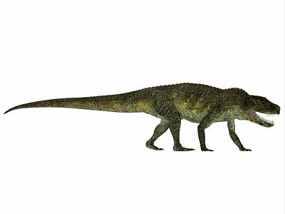 Triassic Painting - Postosuchus Reptile Profile by Corey Ford