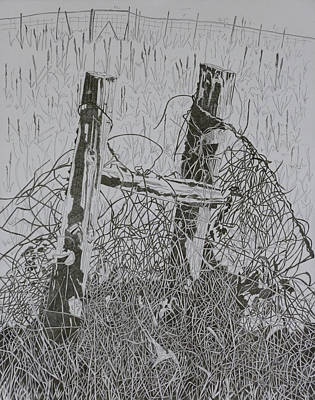 Posts And S Barb Wire Art Print by Karen Merry