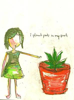 Little Girls98 Drawing - Pot In My Pot by Ricky Sencion