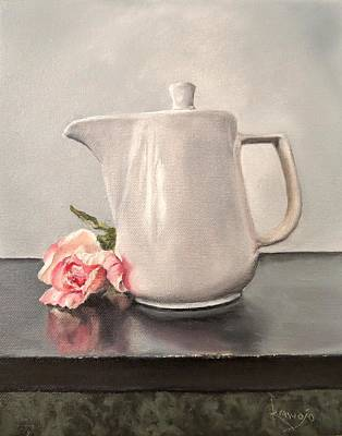 Painting - Pot Of Coffee And A Paper Rose by Wendy Winbeckler - Kanojo