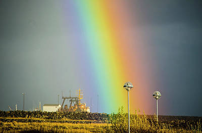 Photograph - Pot Of Gold Rainbow In An Old Boat Reykjanes Peninsula Iceland by Deborah Smolinske