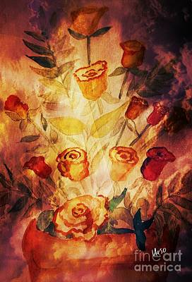 Mixed Media - Pot Of Golden Roses by Maria Urso