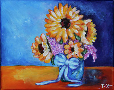 Painting - Pot Of Sunflowers by Diana Haronis