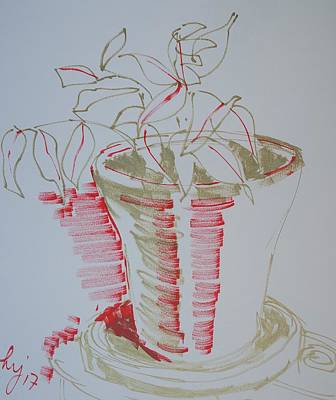 Still Life Drawings - Pot plant by Mike Jory