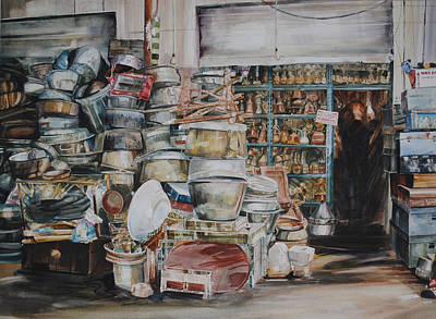 Store Fronts Painting - Pot-pourii by P Anthony Visco