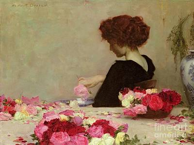 Red Rose Painting - Pot Pourri by Herbert James Draper
