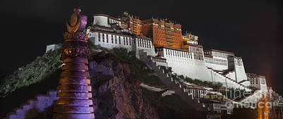 Potala Palace At Night. Historic Art Print by Phil Borges