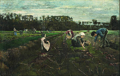 Weeding Painting - Potato Harvest 1875 by Max Liebermann