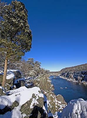 Potomac River At Great Falls National Park During Winter Art Print by Brendan Reals
