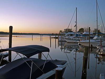 Potomac River At Sunrise Belle Haven Marina Alexandria Virginia Art Print by Brendan Reals