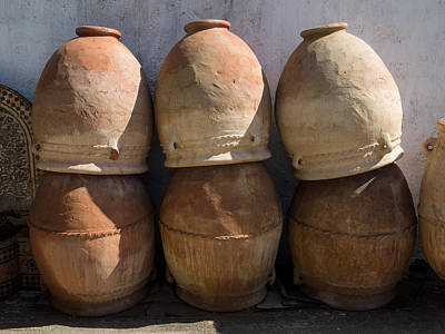 Pots For Sale At Pottery, Fes, Morocco Art Print by Panoramic Images