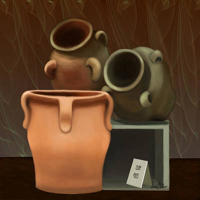 Water Jug Digital Art - Pots Of Clay by Sena Wilson