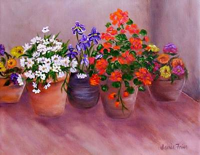 Mums Painting - Pots Of Flowers by Jamie Frier