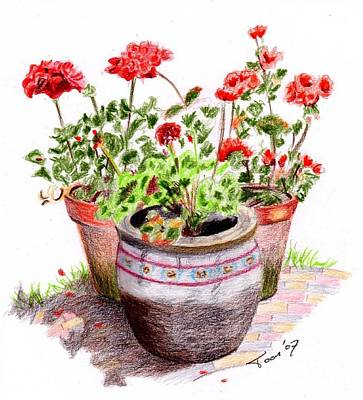Drawing - Pots Of Spring by Toon De Zwart