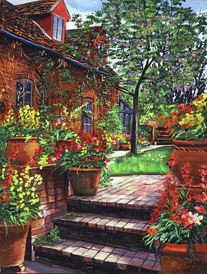 Painting -  Pots Of Wallflowers by David Lloyd Glover