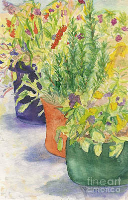 Art Print featuring the painting Potted Beauties  by Vicki  Housel