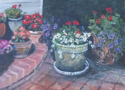Terra Painting - Potted Flowers by Paula Pagliughi