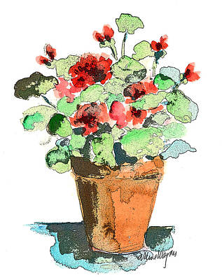 Potted Geraniums Art Print by Arline Wagner