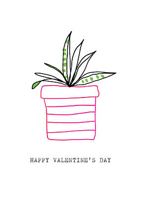 Potted Plant Valentine- Art By Linda Woods Art Print