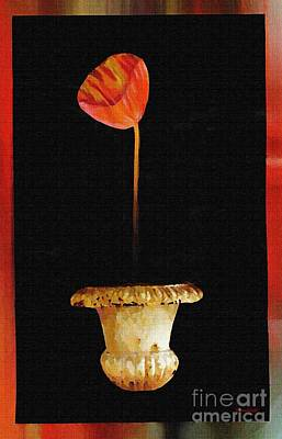 Mixed Media - Potted Red Tulip by Sarah Loft
