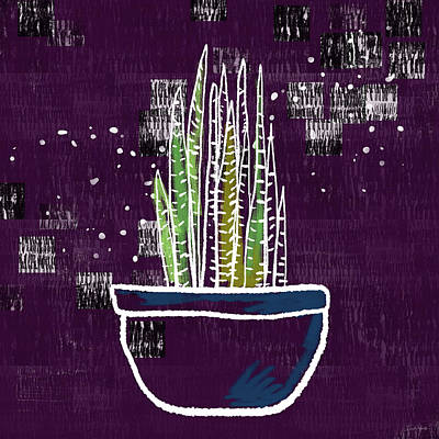 Mixed Media - Potted Snake Plant- Art By Linda Woods by Linda Woods
