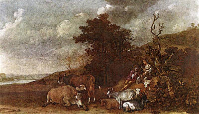 Potter Paulus Landscape With Shepherdess And Shepherd Playing Flute Art Print by Paulus Potter