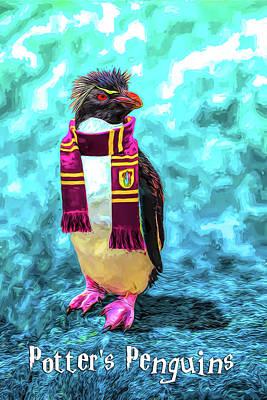 Digital Art - Potter Penguin by John Haldane
