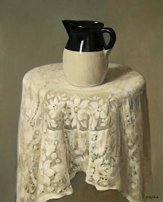 Pottery And Lace Tablecloth Art Print by Robert Holden