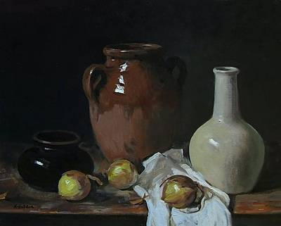 Painting - Pottery Shapes And Onions by Robert Holden