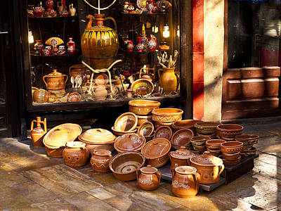 Pottery In The Bazaar Art Print by Rae Tucker