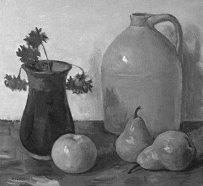 Painting - Pottery Jug, Pottery Vase, One Apple And Two Pears by Robert Holden