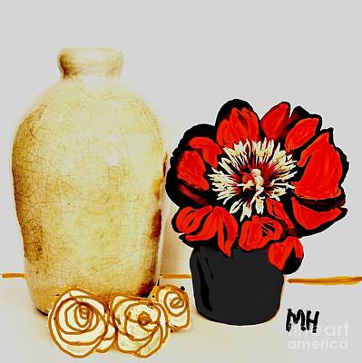 Pottery Painting - Pottery Peony Roses by Marsha Heiken