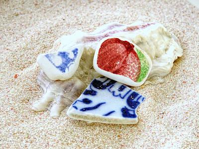Photograph - Pottery Sea Glass by Janice Drew