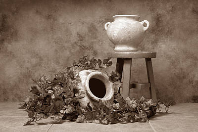 Sepia Photograph - Pottery With Ivy I by Tom Mc Nemar