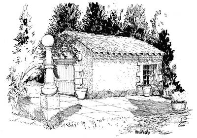 Thor Drawing Drawing - Potting Shed At Le Coin Retro In Le Thor France by Ken Pieper