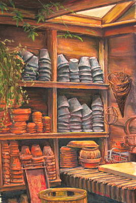 Potting Shed Print by Sam Pearson