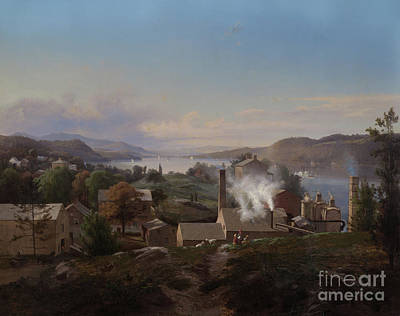 Steamboat Painting - Poughkeepsie Iron Works by Johann Herman Carmiencke