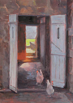 Old Barn Painting - Poulets A Letat Sauvage by Shawn Shea