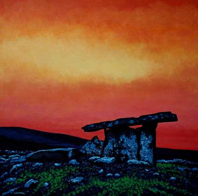 Monochromatic Painting - Poulnabrone Dolmen Ireland by John  Nolan